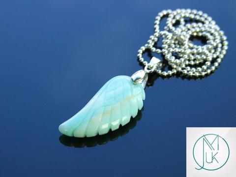 Amazonite Gemstone Angel Wing Pendant Necklace