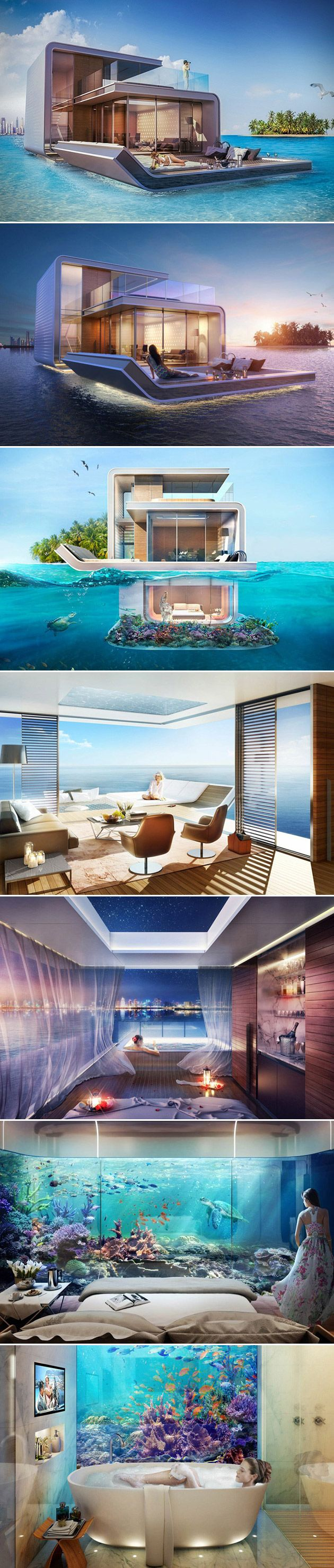Technically the Floating Seahorse is classified as a boat, but it only takes one quick glance to see that the project is much more akin to a floating house. Designed by the team at Kleindienst Group, the project consists of 42 properties floating in the Persian Gulf of Dubai. The project is part of the Heart of Europe development, and offers up marine style retreats spanning 1,700 square feet of living space. Each residence features three levels, the bottom of which being under water.