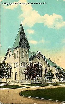 St Petersburg Florida 1911 Congregational Church Antique Vintage Postcard St. Petersburg Florida FL 1925 Congregational Church. Unused Curteich collectible antique vintage postcard in good condition w