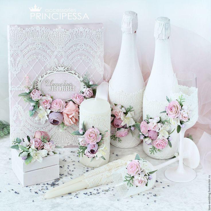 """Купить """"Айвори и лиловый"""" свадебный набор - свадьба, свадебные аксессуары, свадебные бокалы, Аксессуары handmade"""