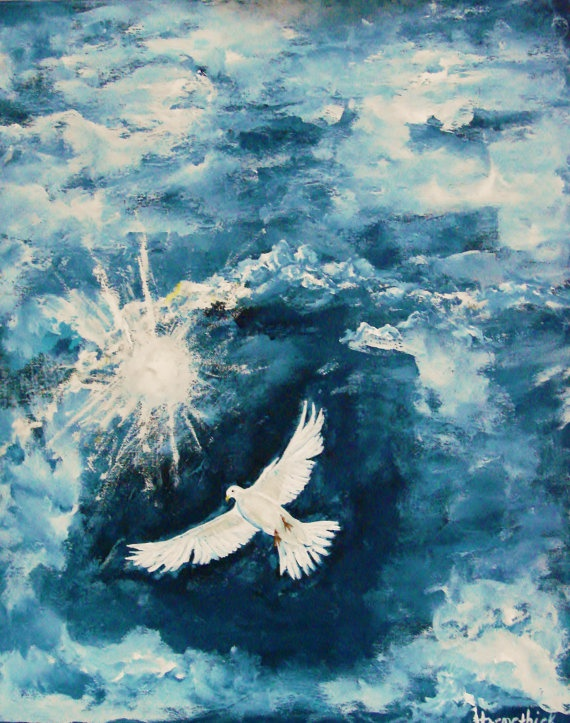 Original acrylic painting of a Religious Dove by ...