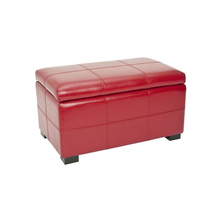 Safavieh Bella Small Bicast Leather Storage Bench, Red