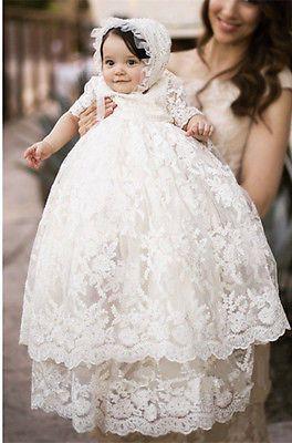 Hot Sale Infant Girl Toddler Christening Baptism Dress Gown White Ivory +Bonnet