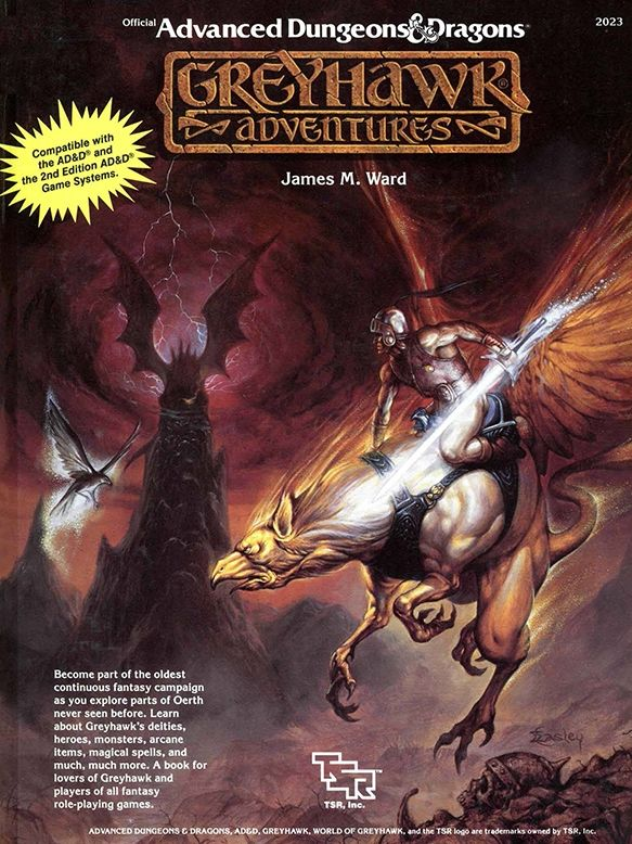 Greyhawk Adventures (1e/2e) - Greyhawk | Book cover and interior art for Advanced Dungeons and Dragons 1.0 - Advanced Dungeons & Dragons, D&D, DND, AD&D, ADND, 1st Edition, 1st Ed., 1.0, 1E, OSRIC, OSR, Roleplaying Game, Role Playing Game, RPG, Wizards of the Coast, WotC, TSR Inc. | Create your own roleplaying game books w/ RPG Bard: www.rpgbard.com | Not Trusty Sword art: click artwork for source
