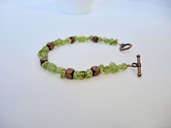 Peridot bracelet with natural peridot and wood beads green