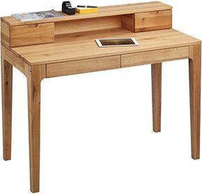 HomeTrends4You 612522 Schreibtisch, 110 X 76/96 X 55 Cm, Wildeiche Massiv  Geölt