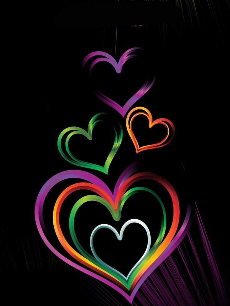 Colorful Heart Backgrounds | Colorful Heart on Black Background B