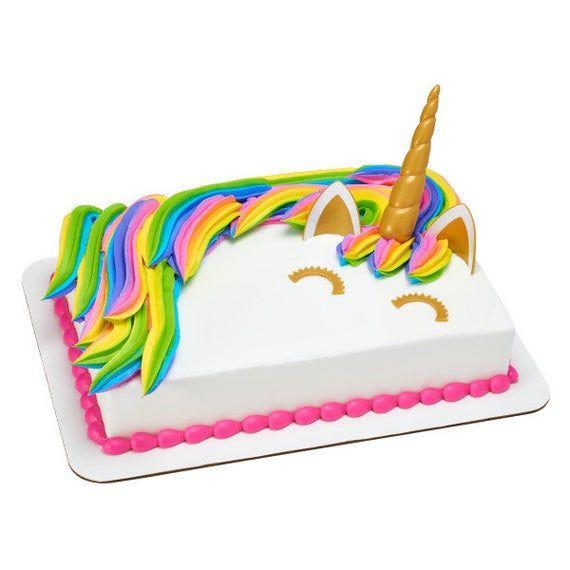 UNICORN CAKE KIT enthält Augen, Horn und Ohren. Cake Topper Pick Geburtstag Cupcake Regenbogen Party Tween   – Products