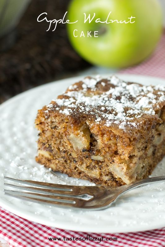 A moist cake with apples and walnuts in every bite. This cake is so full of flavor that no frosting is needed. A simple dusting powdered sugar will do!