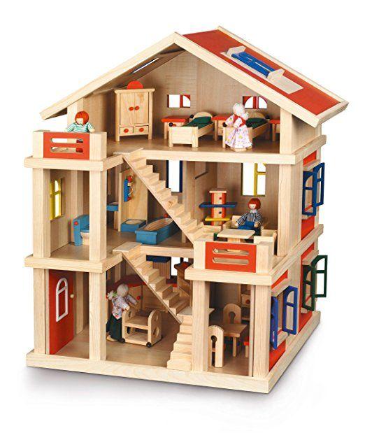 Bayer Chic 2000 293 01 - Casa delle bambole a tre piani, in legno, completamente arredata