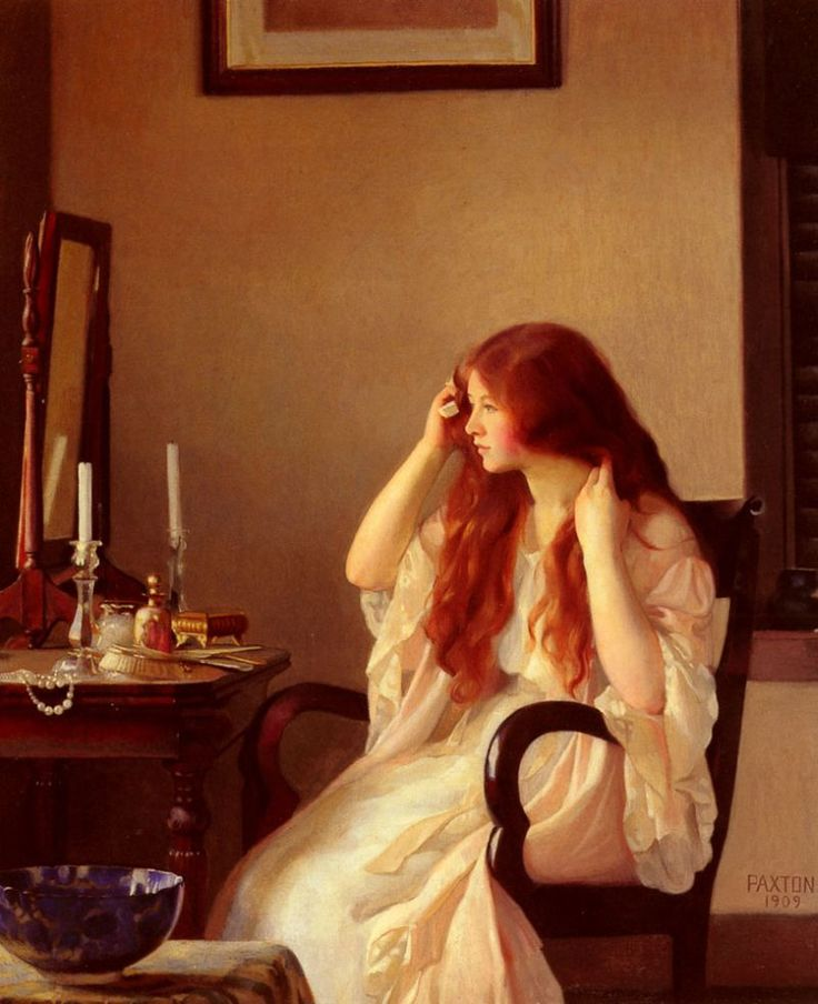 Aria, discovering her reflection {PAXTON William McGregor  (American 1869-1941) - Girl Combing Her Hair (1909)}