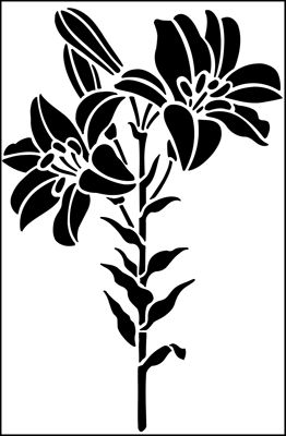 Lily stencil from The Stencil Library GARDEN ROOM range. Buy stencils online. Stencil code GR5.