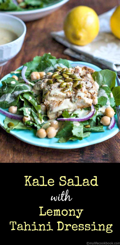 Kale Salad with Lemony Tahini Dressing #SundaySupper