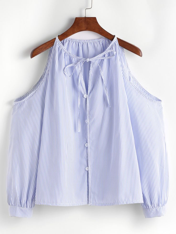 Blue Vertical Striped Cold Shoulder Tie Neck Button Top