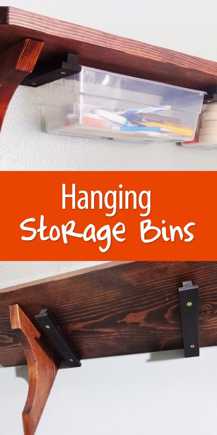 Maximize the organization power of your shelves by installing sliding plastic bins underneath.