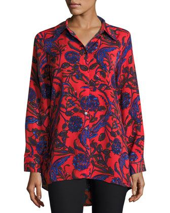 Floral-Print+Pleat-Back+Tunic,+Multi+by+Neiman+Marcus+at+Neiman+Marcus+Last+Call.