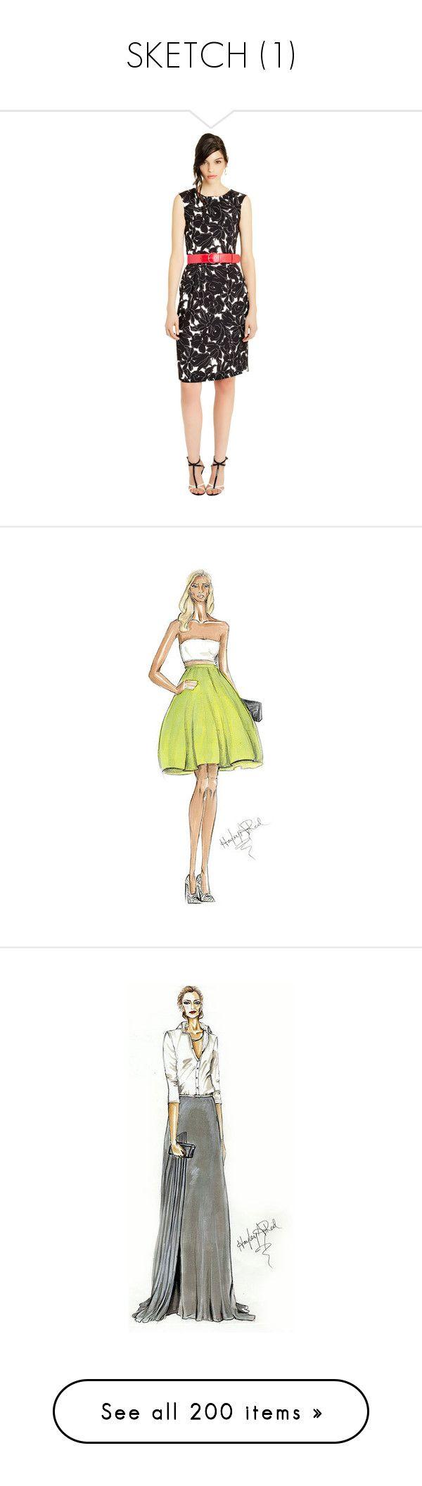 """SKETCH (1)"" by twarnav ❤ liked on Polyvore featuring dresses, holiday shift dresses, embellished dress, stretchy dresses, print shift dress, oscar de la renta dresses, sketches, backgrounds, models and people"
