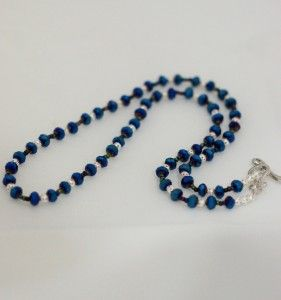 Peacock Blue Cubic Zirconia Crystal Bead Necklace