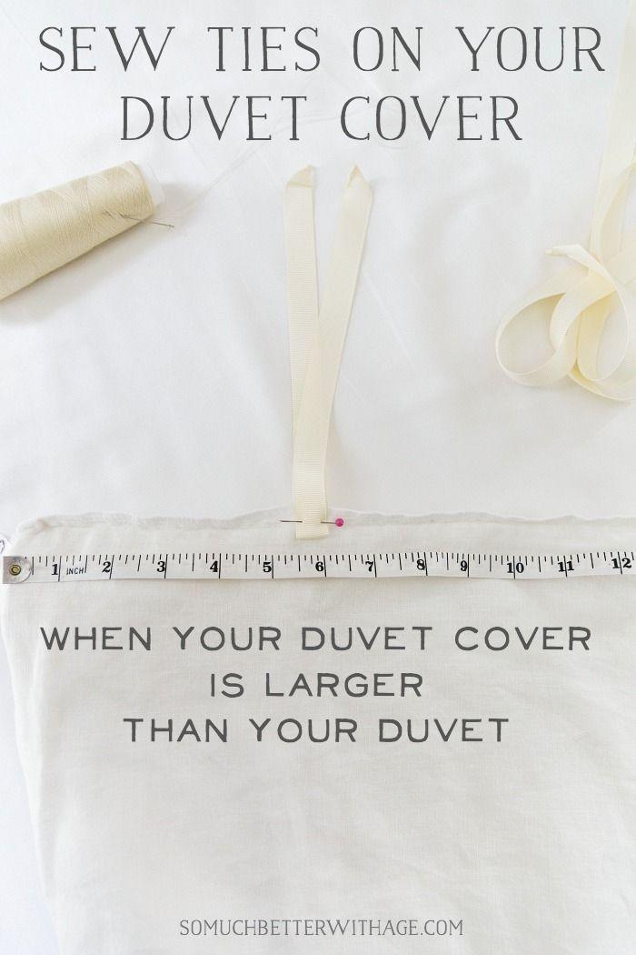 Sew Ties On A Duvet Cover When Your Duvet Cover Is Larger Than Your Duvet Duvet Cover Diy Diy Duvet Duvet Ties
