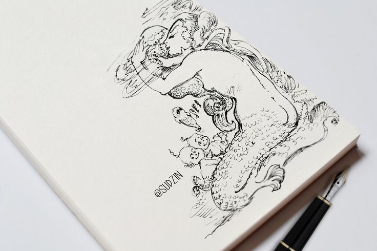 #ink #inktober #mermaid #тушьперо #graphic #графика #platinumpen #sketch #скетч #sketchbook #рисуноктушью #b&w #blackandwhite #эскиз