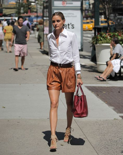 white button down and brown shorts - Olivia Palermo
