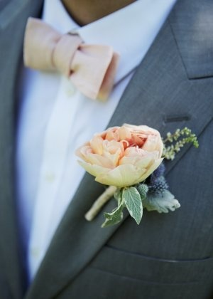 peach garden rose boutonniere groom of traditional bride change suit tie - Garden Rose Boutonniere