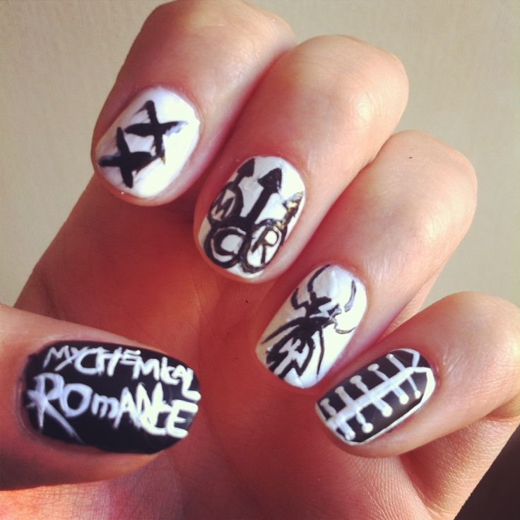 my chemical romance nails , nail art, band nails, MCR, emo , holy trinity of emo