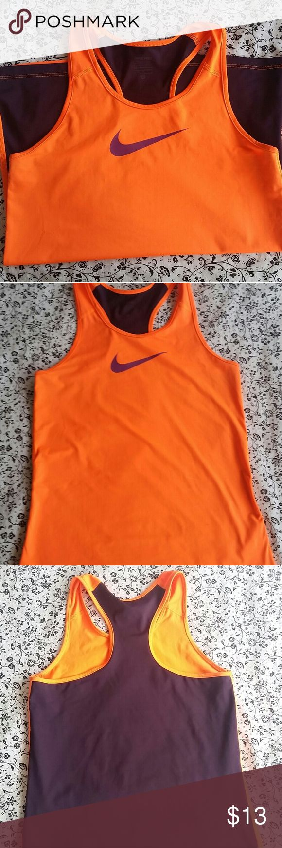 Nike Pro Workout Top Neon Orange Workout Top Dri-Fit  Barely worn - Good condition  Size is Youth L but fits as Adult Small Material: 84% Polyester/ 16% Elastane Nike Tops