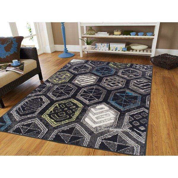 Melbourne Wool Black Area Rug With