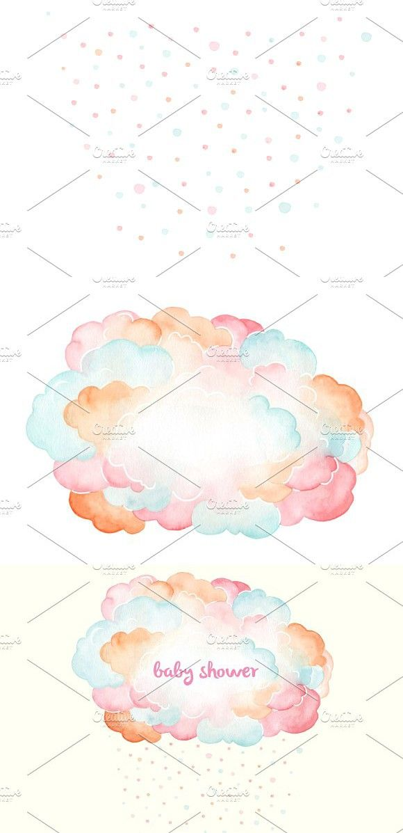 Confetti Cloud Watercolor Baby Design Watercolor