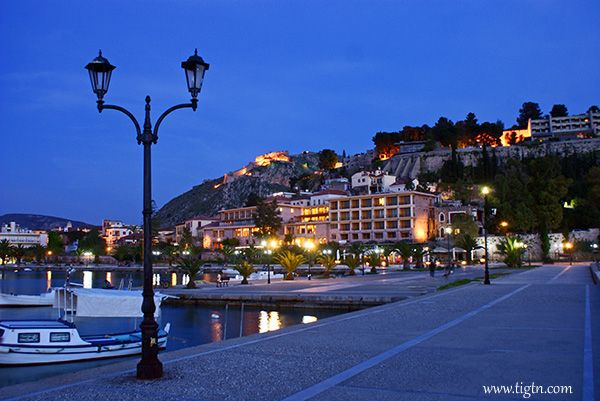 #Nafplio harbor front at dusk, #Peloponnese - #Greece