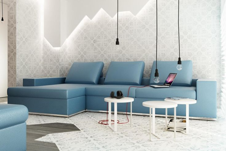 stunning decorative floral wallpaper for walls in living room with L shaped blue sofa feat small round tables