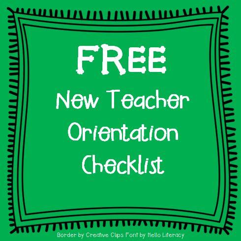 New Teacher Orientation Checklist {FREE}