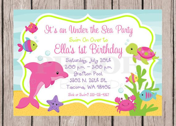 NEW Printable Under The Sea Invitations For Birthday Or Baby Shower