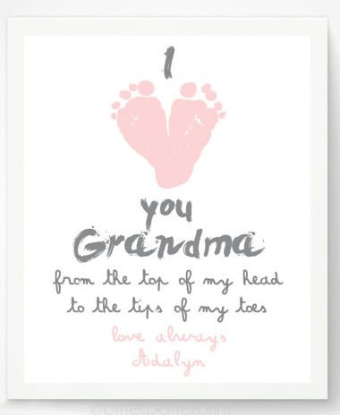 """Valentine's Day Gifts for Mom, Dad, & the Grandparents:  """"I Love You Grandma From The Top of My Head To The Tips Of My Toes"""" Personalized Fo..."""