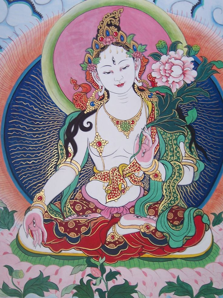 White Tara is the bodhisattva of compassion. She's associated with serenity, longevity, strength and healing.