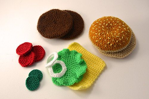Hamburger - Cheeseburger - Bun - Toy Food - Play Kitchen - Amigurumi - CROCHET PATTERN No.73. $4.99, via Etsy.