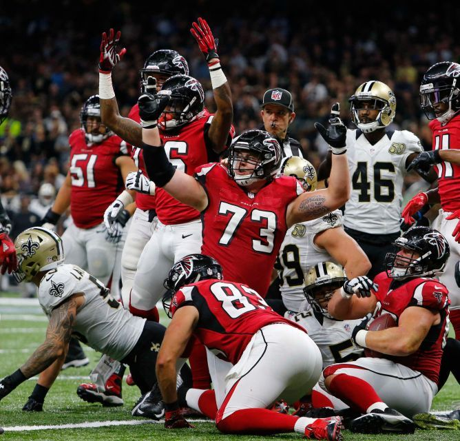 Monday Night Football: Falcons vs. Saints:  September 27, 2016 -   By THE ASSOCIATED PRESS  -     Atlanta Falcons tackle Ryan Schraeder (73) reacts to the official on a score by Tevin Coleman, behind Schraeder, in the first half of an NFL football game against the Atlanta Falcons in New Orleans, Monday, Sept. 26, 2016.