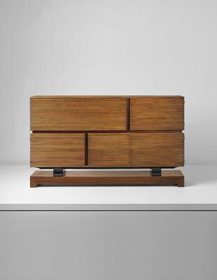 Artist: Gio Ponti Title: Rare cabinet Medium: Walnut, rosewood-veneered wood, ebonized wood, maple, brass. Dimensions: 49 x 86 1/2 x 16 in. (124.5 x 219.7 x 40.6 cm) Lot Number: 2 Estimate: US$18,000.00 - 24,000.00 Auction: DESIGN Location: NEW YORK Sale Date: 13 DECEMBER 2016 Website: http://www.phillips.com Phone: US +1 212 940 1228 UK +44 20 7318 4045 Try the Phillips app for yourself -- available from the iTunes App Store http://itunes.apple.com/app/id397496674