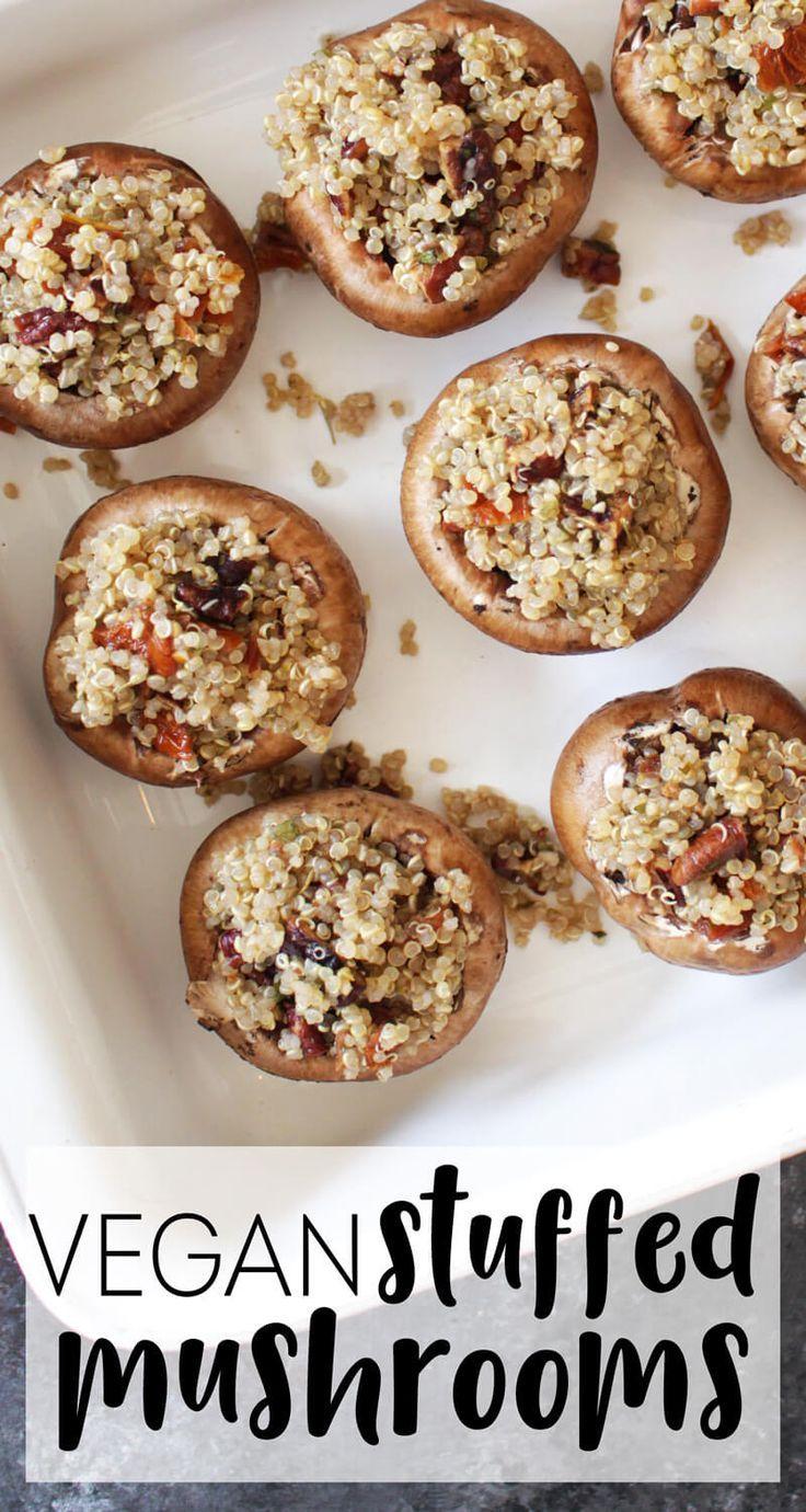 Healthy Vegan Stuffed Mushrooms. Delicious holiday #glutenfree #vegan appetizer recipe. | @karissasvegankitchen