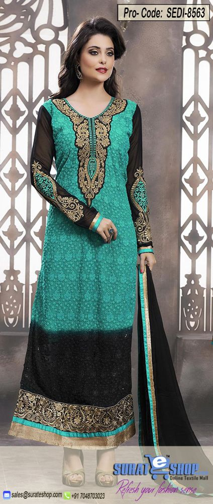 Make The Heads Flip As Soon As You Costume Up In This Beautiful Black & Cyan Blue Faux Georgette Salwar Kameez. The Butta Work, Lace, Patch Work, Resham, Stones Work Appears Chic And Ideally Suited For Any Get Together. Paired With A Matching Bottom Comes With A Contrast Black Chiffon Dupatta   Visit: http://surateshop.com/product-details.php?cid=2_27_63&pid=12248&mid=0