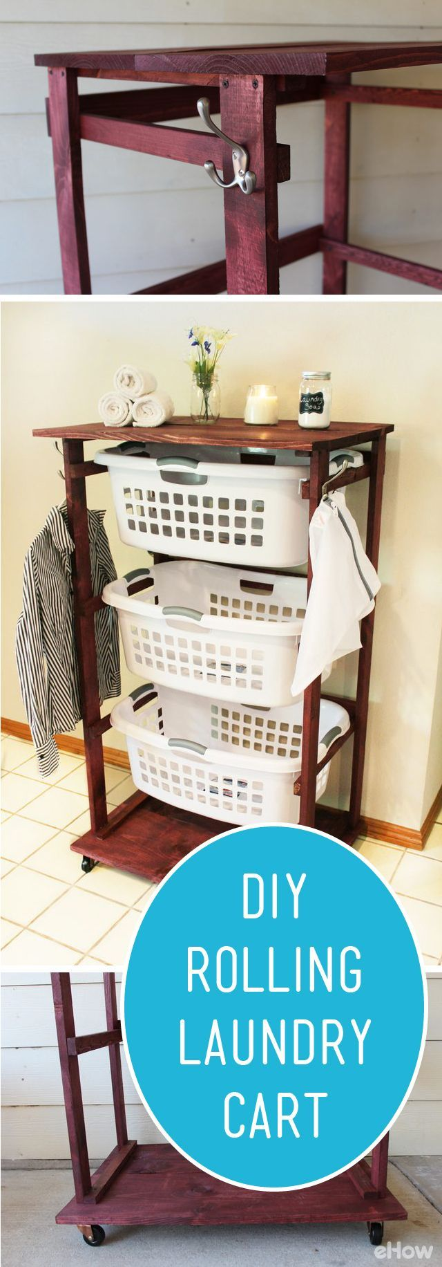 A rolling laundry cart allows you to push around three laundry baskets at once…