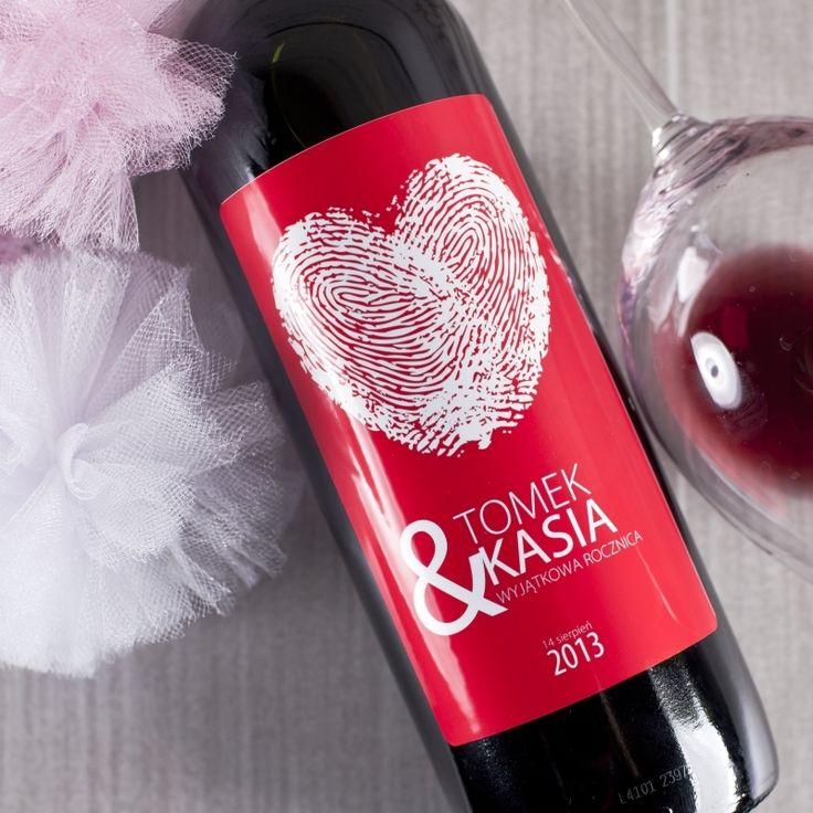 Personalizowane Czerwone Wino SERDUSZKO