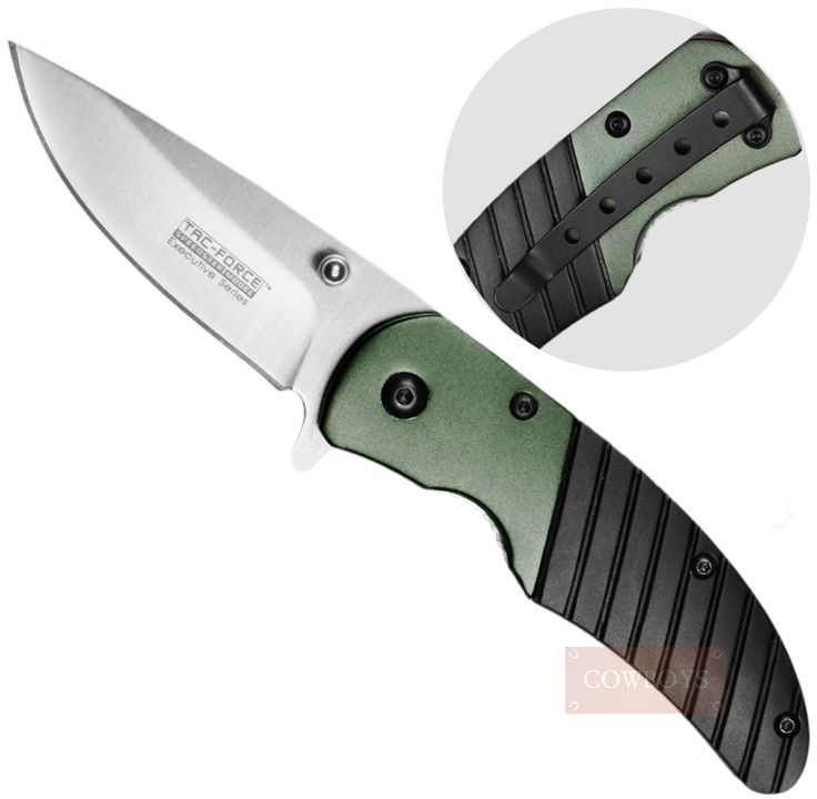 Canivete Lamina Lisa Cabo Anti Derrapante e Presilha  Canivete na cor verde e preta Tac-Force, importado fabricado em aço inox. Lâmina lisa, com 7,0cm. Acionamento manual, trava de segurança e presilha de bolso. Este canivete fechado possui 9,5cm. Excelente para o trabalho no campo. Fácil de usar e durável.