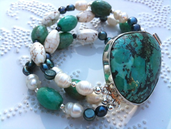 Turquoise Queen  3strands bracelet with China by WencheDesign, $220.00