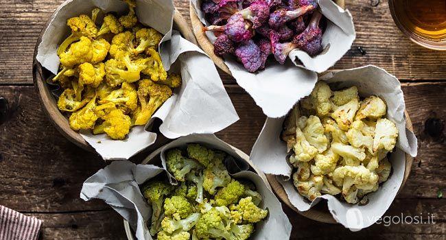 I pop corn di cavolfiori colorati sono un contorno o uno snack salato davvero sfizioso, stuzzicante e soprattutto semplicissimo da preparare