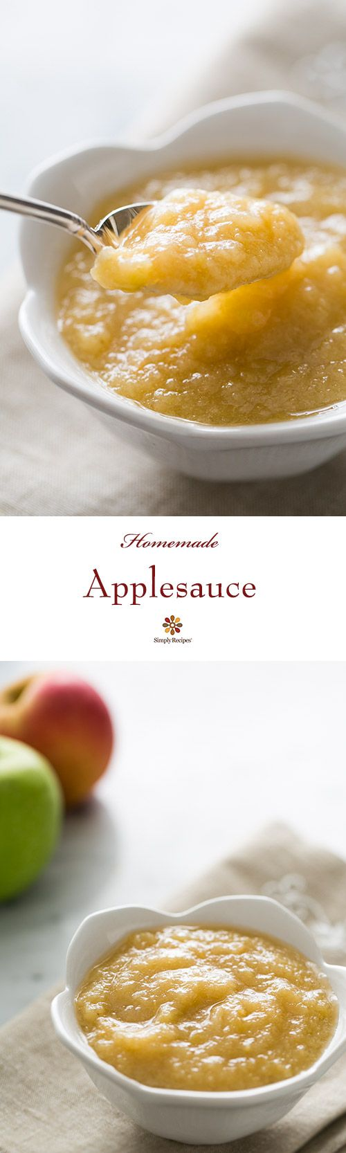Applesauce ~ Delicious homemade applesauce recipe.  There is nothing better than homemade applesauce with hand-picked apples, and it is so easy to do!  ~ SimplyRecipes.com