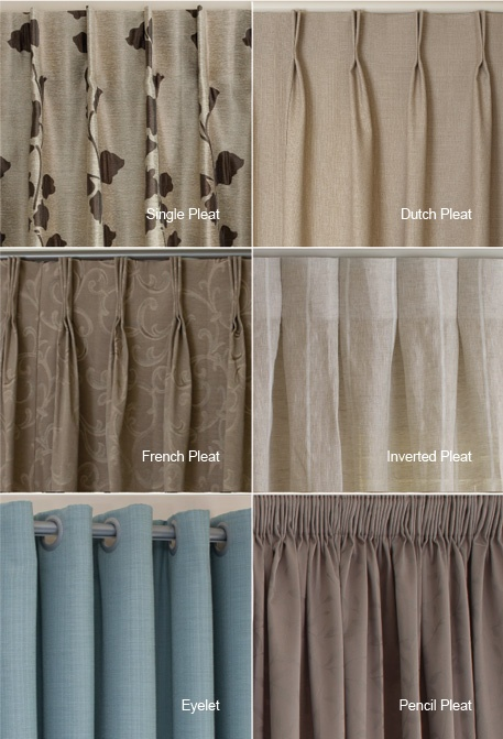 Examples of the different heading types available, I quite like the inverted pleat and single pleat styles for a structured tailored look