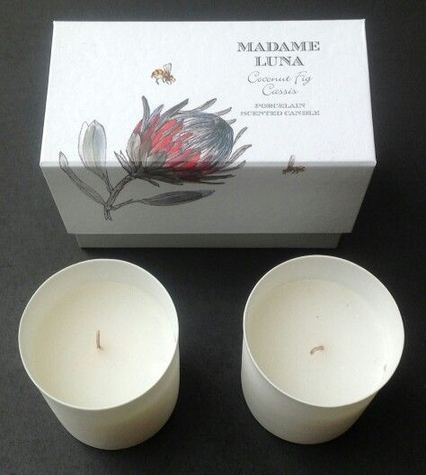 Gorgeous scented candles in porcelain vessels designed locally by LunaC.