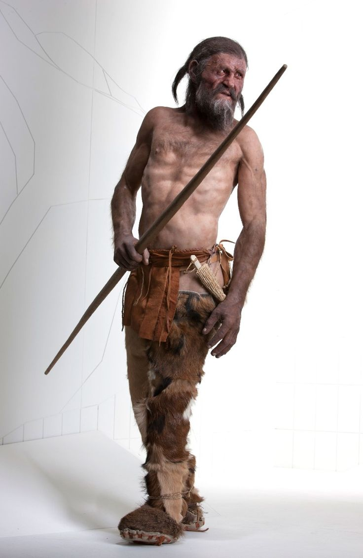 A reconstuction of Ötzi the Iceman at the South Tyrol Museum of Archaeology in Bolzano, Italy.